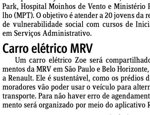 Jornal do Comércio: carro elétrico será compartilhado em empreendimentos da MRV